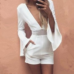 $enCountryForm.capitalKeyWord Canada - Women Summer White Short Sexy Rompers Jumpsuit Deep V Neck Long Flare Sleeve Beach Party Playsuits Waist Crochet Lace Overalls