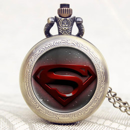 $enCountryForm.capitalKeyWord Canada - Old Antique Superman Design High Quality Bronze Quartz Pocket Watch With Necklace Chain For Gift