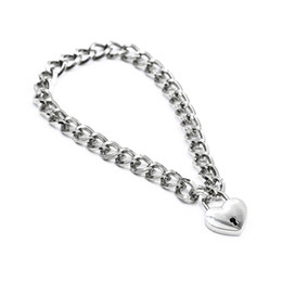 Neck chaiNs for sex online shopping - Thick Stainless Steel Collar Neck Ring Lockable BDSM Necklace Metal Adult Sex Toys for Woman Metal Collar Chain with Star Shape Lock Bandage