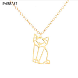 $enCountryForm.capitalKeyWord Australia - Everfast New Fashion Origami Sitting Cat Pendant Necklace Cutting Tom And Jerry Cats Long Chain Necklace Women Kids Bijoux EFN032-A