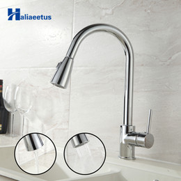 stainless kitchen faucet pull out Canada - wholesale Pull Out Kitchen sink Faucet Flexible Kitchen Faucet Tap Hot and Cold Kitchen Mixer Tap Chrome Brush Nickel Faucet