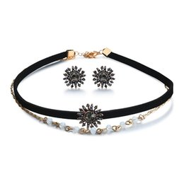 $enCountryForm.capitalKeyWord UK - New Style Gothic Retro Jewelry Sets Vintage Black Ribbon Velvet Beads Neck Chains Short Choker Necklace With Stud Earring