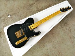 black color guitar Canada - Factory Wholesale GYTL-2036 matte black color gold hardware solid mahogany body maple fretboard 6 string TL Electric Guitar, Free shipping