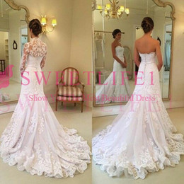 $enCountryForm.capitalKeyWord NZ - 2019 Elegant With Jacket Wedding Dresses Mermaid Lace Sweetheart Back Cover Button Sweep Train Boho Country Bridal Gown Custom Made