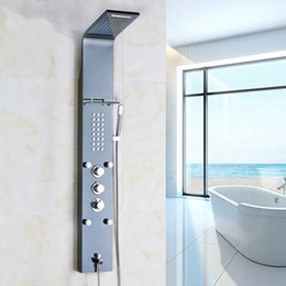 Shower Equipment 5 Ways Stainless Steel Waterfall Rain Shower Panel Wall Mounted Bathroom Shower Faucet Shower Panel Column Towel Shower Tub Tap