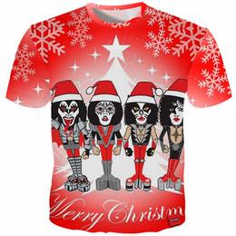 Pop Tees Australia - Cloudstyle 2018 3D Tshirt Men KISS Hard Rock Christmas 3D Print Pop Metal Tee Short Sleeve Tops Fashion Streetwear Plus Size 5XL