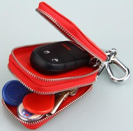 double zipper card holder 2019 - Genuine Leather Key Wallet Keychain Covers Key Case Bag Men Women Key Holder double zipper discount double zipper card h