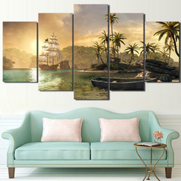 Canvas Painting Wall Artwork Decorative Pictures 5 Panel Sailboat And Palm  Tree Landscape For Office Living Room Bedroom Prints Artwork For Offices  Outlet