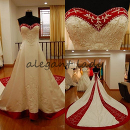Strapless Satin Short Wedding Dresses Australia - White And Red Satin Embroidery A Line Wedding Dresses Gothic Chapel Train Lace Up Real Photos 2018 Vintage Church Bridal Wedding Gowns