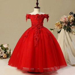 $enCountryForm.capitalKeyWord Australia - 2018 Holy White red Flower Girls Dresses For Weddings Lace Long Sleeves Ruched Tulle First Communion Gowns Sash Girls Pageant Dress