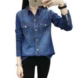 $enCountryForm.capitalKeyWord NZ - 2017 New Women Casual Autumn Winter Basic Denim Blouse Jean Top Shirt Full sleeves loose cowboy pocket buttons Large Size