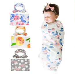 $enCountryForm.capitalKeyWord NZ - Girls Boys Sleeping Swaddle Swaddle Blanket Baby Newborn Fashion Muslin Wrap Headband 15 Styles Blankets DHL Free Shipping