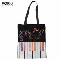FORUDESIGNS Casual Woman Linen Shopping Tote Bags Fashion Piano Keyboard  Music Note Printing Lady Eco Bags Folding Reusable Bag 88ba6bf716a00