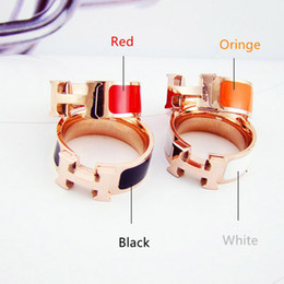 Original stamp online shopping - Hot Sale L Stainless Steel H stamp Rings Black and white red orange drop oil H ring For Women with Original Velvet bag