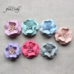 Fabric Hair Brooches Australia - Fashion Frilly hair flower fabric flower DIY accessories for hair brooch hair ring 35 pcs ifanbaby
