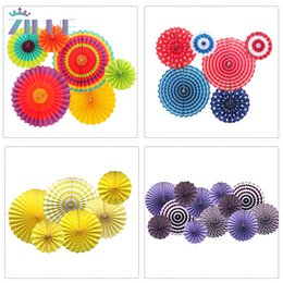 Tissue balls for parTy online shopping - Zilue Set Colorful Wheel Tissue Paper Fans Flowers Balls Lanterns Party Decor Craft For Birthday Party Wedding Decoration