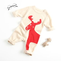 knit dog collar 2019 - baby kids clothing romper Baby children round collar long knitted dog or deer design romper girls boy winter fall clothe