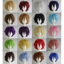 Light bLue cospLay wig short online shopping - Short Hair Cosplay Wig Male Party Cm High Temperature Fiber Synthetic Hair Wigs