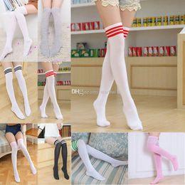 2d0de62da83 Girl Long Tube Socks Women Sexy Cotton Stripes Knees High Socks Festive  Party Supplies Christmas socks Free Shipping JWX9-847