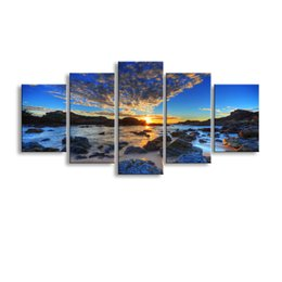 definition painting Canada - 5 pieces high-definition print Gorgeous beach anvas painting poster and wall art living room picture HaiD-014
