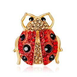 $enCountryForm.capitalKeyWord NZ - 2018 Cute Insect Ladybird Lapel Pins Scarf Buckle Clear Crystal Rhinestone Brooches Women Men Suit Dress Accessories