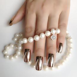 c00fc82b1b554 24pcs kit DIY Gorgeous Mirror UV Acrylic Nails Champagne Flat head Extra  Long False Nails Metallic Style Nail Tips Easy to use