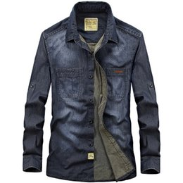 698adb936ad New Arrival Denim Shirt Men Long Sleeve Casual Shirts Men Jeans Shirts for  Male Dress Camisa Masculina Clothes 2Color Plus Size 4XL for Male