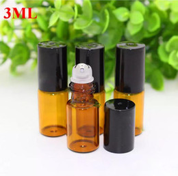 roller ball glass vials 2019 - 1200pcs lot 3ml Perfume Roll on Glass Bottles With Glass Metal Balls Roller Essential Oil Vials 3ml With Black Gold Cap