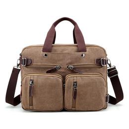2cfcb32b7d7d Brown Canvas Briefcase Bag NZ - Brand Men Canvas Bag Leather Briefcase  Travel Suitcase Messenger Shoulder