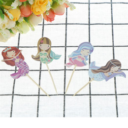 mermaid baby shower 2019 - Cartoon Mermaid Cupcake Topper Wedding Toppers Picks Kid Birthday Party Decor Baby Shower Cake Decoration Supplies cheap