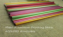 length drinking straw UK - Eco-Friendly 21 -24 Cm Length 8mm Dia Hard Reusable Bar And Party Metal Aluminum Drinking Straws Green Color Straws For Marson Jar