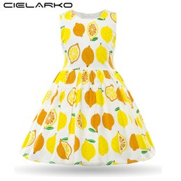 $enCountryForm.capitalKeyWord UK - Cielarko Summer Girls Dresses Kids Cotton Sleeveless Lemon Yellow Dress Baby Casual Beach Sundress Children Fruit Design Costume