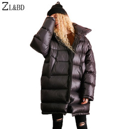 edfb21fdaa1 ZL&BD Feather Puffer Jacket Women Oversize Down Jacket Winter Loose Thick Long  Duck Down Jacket Coat Turtleneck Overcoat ZA1040