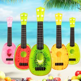Guitars online shopping - Kids Intellectual Development cm Mini Fruit Pattern Ukelele Small Guitar Musical Instrument Interactive Toy Intelligence Gift mc W