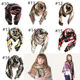 Tartan Scarfs Australia - Wholesale Kids Plaid Blanket Scarves Tartan lattice Tassels Scarf Fashion Warm Neckerchief Autumn Winter Baby Scarf Shawl 100*100cm