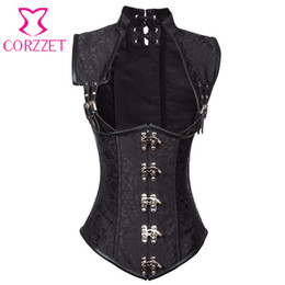 gothic steampunk clothing 2019 - Black Brocade Collared Top Cupless Sexy Corset Vest Steampunk Corset Underbust Gothic Clothing Corsets and Bustiers Stee