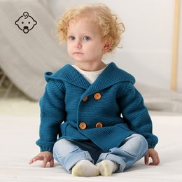 Sweaters Baby Boys Australia - Newborn Baby Sweater Boys Knit Long Sleeve Toddler Infant Hooded Jackets Winter Coat 1-3 Years Baby Coat Warm Clothing