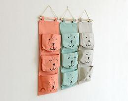 $enCountryForm.capitalKeyWord UK - 2017 Zakka Style Smiles Cartoon Door Hanging Bag Cotton Hanging Organizer Wall Pockets on Window Stationery Cosmetics Storage