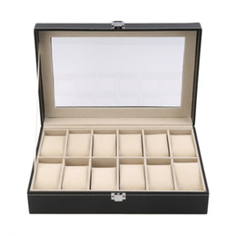 12 Slot Display Case Canada - 12 Grid Slots PU Leather  Watch Display Box Watches Case Jewelry Storage Holder Organizer Free Shipping