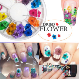 dried flowers for nails UK - Hot sale 12 Color 3D Decoration Real Dry Dried Flower for UV Gel Acrylic Nail Art Tips