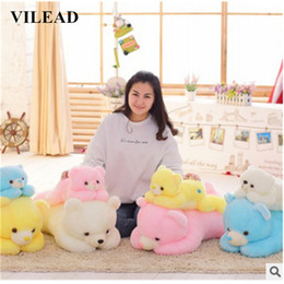 Discount embroidered soft toys wholesale LED Cute Bear Cushion Soft Cotton Filling Plush Toy Stuffed Seat Cushion Children Sleeping Pillow Home Decorat