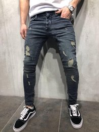 Wholesale jeans for mens resale online – designer 2020 hot sale Mens Cool Pencil Jeans Skinny Ripped Destroyed Stretch Slim Fit Hop Hop Pants With Holes For Men