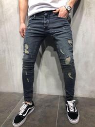 Mens Cool Designer Marque Crayon Jeans Skinny Ripped Détruit Stretch Slim Fit Hop Pantalon Hop Hop Avec Trous pour Hommes en Solde