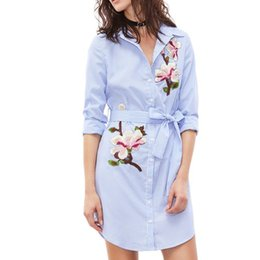 $enCountryForm.capitalKeyWord Australia - Spring Long Sleeve Loose High Low Long Shirts with Belt Women Lapel Neck Work Ladies Baggy Striped Blouse Mini Vestido