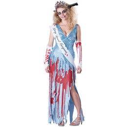 $enCountryForm.capitalKeyWord UK - 2018 new halloween with blood Miss beauty pageant Costume Horror queen corpse bride vampire Cosplay Dress scary Day of the Dead