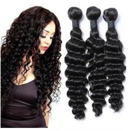 Discount sells hair weaves - Best Selling Deep Curly Virgin Hair 3Pcs Lot Brazilian Deep Wave Human Hair Weaves Bundles Natural Color Soft Natural Co