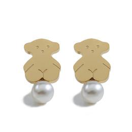 Oso español Joyas de acero inoxidable Pendientes de botón plateados / dorados Planos Oso lindo con gran perla rosa Pendientes de moda