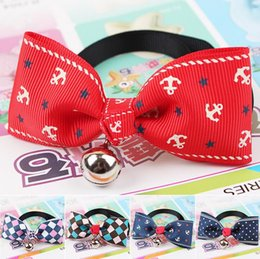 Cat headdress online shopping - Nice pet headdress dog necktie with bell dogs butterfly bow tie cat tie pet grooming supplies free ship