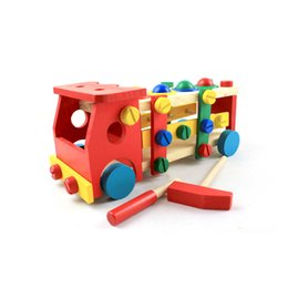 China Education Wooden Toy Puzzle Knockdown Car DIY Changeable Nut Combination TOOL Kit Disassembly Worktable Kids Intelligence Toys 19oya Z cheap combination toy nut suppliers