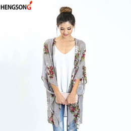 Discount beach shawl sleeves - Summer Chiffon Blouse Sun Protection Clothing Long Beach Shirts Women Shawl Cardigans Three Quarter Sleeve Floral Printe
